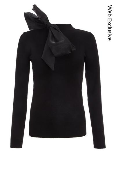 Black Knitted Satin Bow Jumper